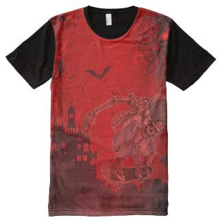 Camiseta Com Impressão Frontal Completa O patinador de esqueleto por todo o lado no