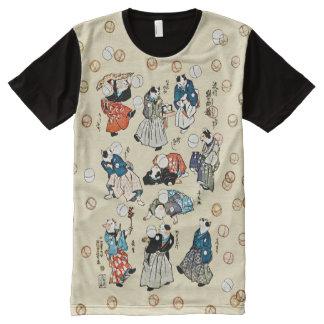 Camiseta Com Impressão Frontal Completa O vintage que manipula o gato japonês Frolics arte