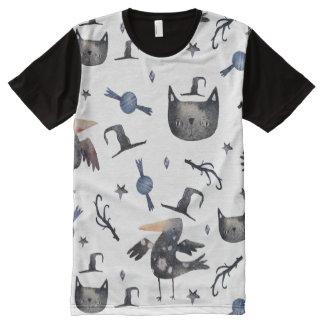 Camiseta Com Impressão Frontal Completa Padrões pintados o Dia das Bruxas bonitos