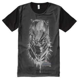 Camiseta Com Impressão Frontal Completa Pantera preta esboço principal preto & branco de |