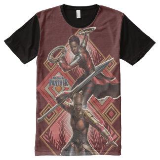 Camiseta Com Impressão Frontal Completa Pantera preta | Nakia & gráfico de Okoye Wakandan