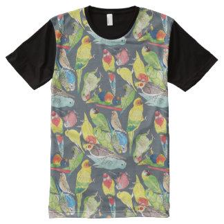 Camiseta Com Impressão Frontal Completa Papagaios pequenos da aguarela