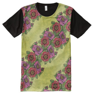 Camiseta Com Impressão Frontal Completa Papoila-ish & afligido