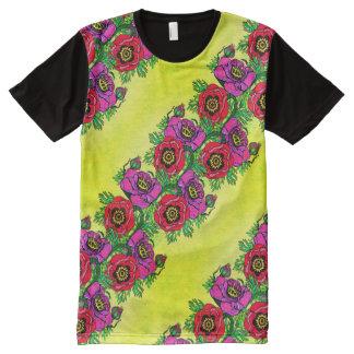 Camiseta Com Impressão Frontal Completa Papoila-ish no amarelo