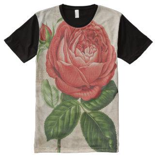 Camiseta Com Impressão Frontal Completa Perpétuo híbrido vermelho do vintage, Paul Neyron