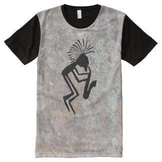 Camiseta Com Impressão Frontal Completa Petroglyph do jogador de Kokopelli Saxaphone