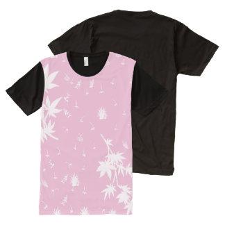 Camiseta Com Impressão Frontal Completa Plantas cor-de-rosa e brancas