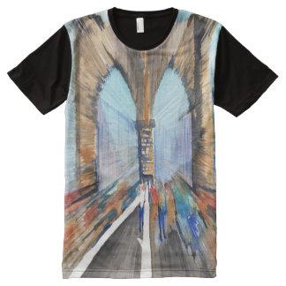 Camiseta Com Impressão Frontal Completa Ponte de Brooklyn
