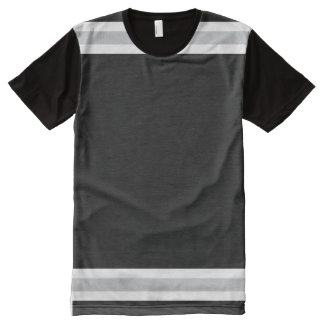 Camiseta Com Impressão Frontal Completa Preto com branco e guarnição da prata