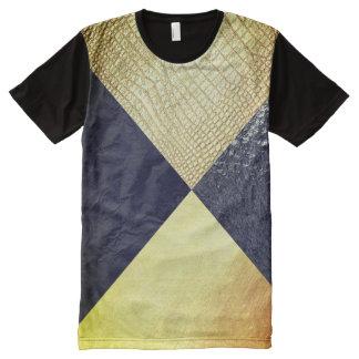 Camiseta Com Impressão Frontal Completa Preto & jacaré do ouro
