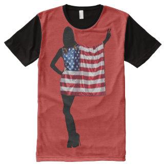 Camiseta Com Impressão Frontal Completa Quarto de julho (mulher patriótica)