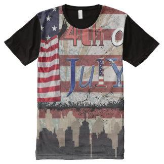 Camiseta Com Impressão Frontal Completa Quarto de julho (patriótico)