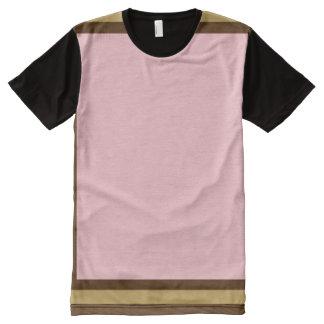 Camiseta Com Impressão Frontal Completa Rosa com Brown e guarnição do modo