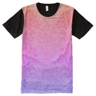 Camiseta Com Impressão Frontal Completa Rosa & impressão floral roxo por Aleta