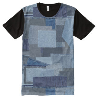 Camiseta Com Impressão Frontal Completa Sarja de Nimes azul Shibori dos retalhos de Boro