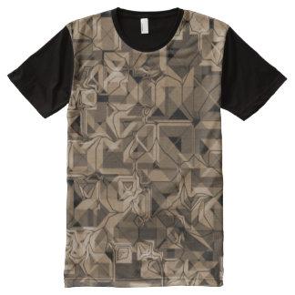 Camiseta Com Impressão Frontal Completa Skater Shirt para homens pretos, Castanho/