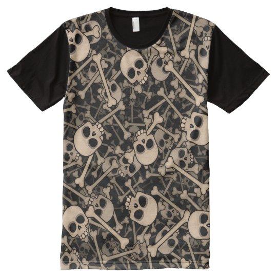 Camiseta Com Impressão Frontal Completa Skeletons