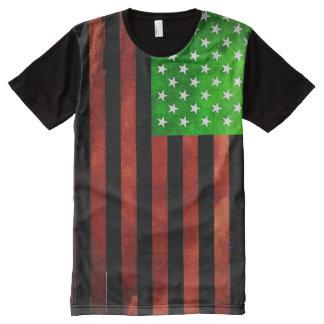 Camiseta Com Impressão Frontal Completa T da bandeira negra