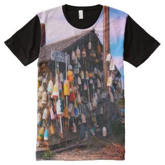 Camiseta Com Impressão Frontal Completa T da bóia da lagosta de maine