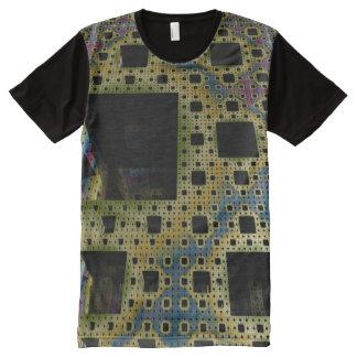Camiseta Com Impressão Frontal Completa T do homem do circuito impresso do cubo do Fractal
