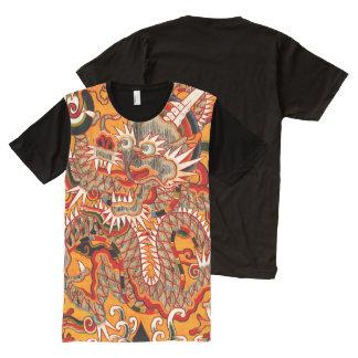 Camiseta Com Impressão Frontal Completa T-shirt chinês imperial do gráfico do dragão de
