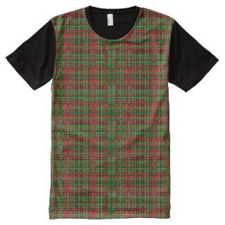 Camiseta Com Impressão Frontal Completa T-shirt da xadrez do Natal