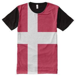 Camiseta Com Impressão Frontal Completa T-shirt do impressão da bandeira de Dinamarca toda