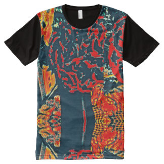 Camiseta Com Impressão Frontal Completa T-shirt do painel da chama