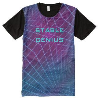 Camiseta Com Impressão Frontal Completa T-shirt estável da dimensão dos mais alto do gênio
