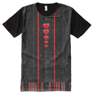 Camiseta Com Impressão Frontal Completa T-shirt longo do painel dos corações pretos de