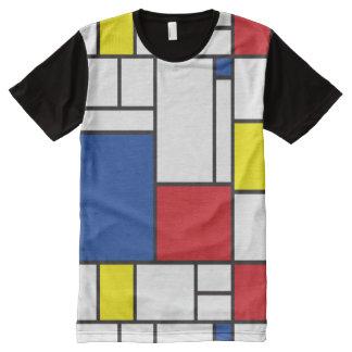 Camiseta Com Impressão Frontal Completa T-shirt minimalista da arte moderna de Mondrian de