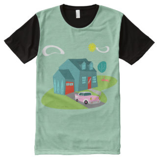 Camiseta Com Impressão Frontal Completa T-shirt suburbano retro do painel da casa