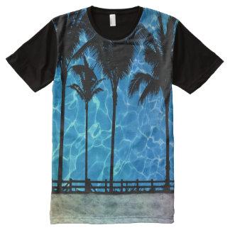 Camiseta Com Impressão Frontal Completa T-shirt tropical do gráfico do verão das palmeiras