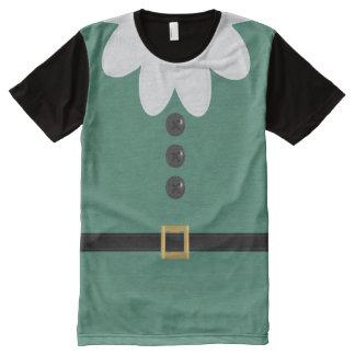 Camiseta Com Impressão Frontal Completa T-shirt verde engraçado do traje do duende do