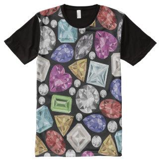 Camiseta Com Impressão Frontal Completa Teste padrão colorido luxuoso do diamante