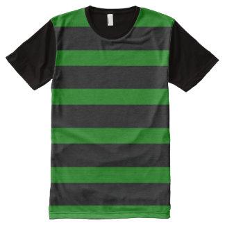 Camiseta Com Impressão Frontal Completa Teste padrão listrado bonito no preto e no verde