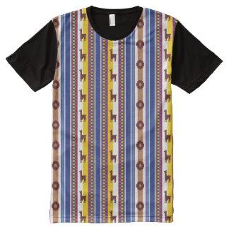 Camiseta Com Impressão Frontal Completa Teste padrão peruano azul e marrom do lama