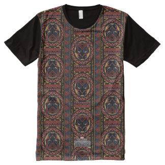 Camiseta Com Impressão Frontal Completa Teste padrão tribal da cabeça da pantera da