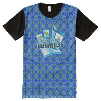 Camiseta Com Impressão Frontal Completa Tomando a cuidado do azul do negócio todo o