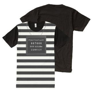 Camiseta Com Impressão Frontal Completa Traje do Dia das Bruxas do condenado, texto do