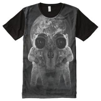 Camiseta Com Impressão Frontal Completa tshirt da ilusão do espaço da terra do crânio do