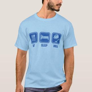 Camiseta Coma a construção do sono, azul engraçado do