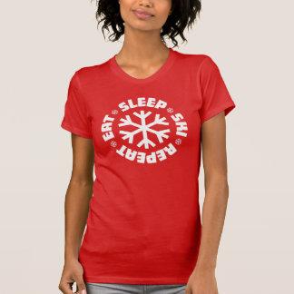Camiseta Coma a repetição do esqui do sono (o gráfico