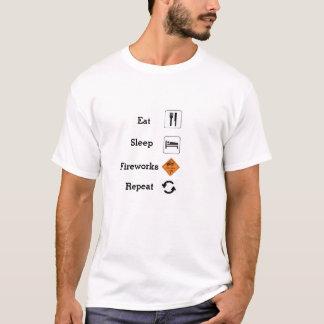 Camiseta Coma, durma, fogos-de-artifício, repetição