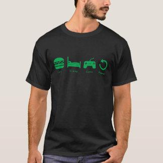 Camiseta Coma, durma, jogo, repetição