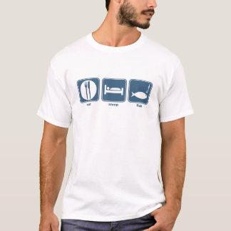 Camiseta coma, durma, pesque