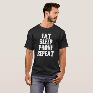Camiseta Coma o design da repetição do telefone do sono