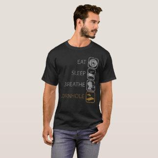 Camiseta Coma o sono respiram o jogo engraçado de Cornhole