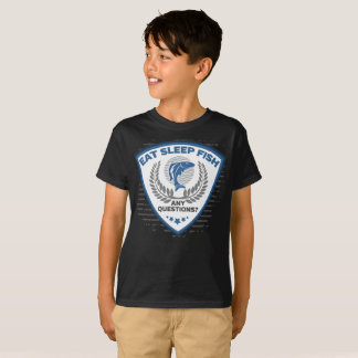 Camiseta Coma peixes do sono toda a pesca das perguntas