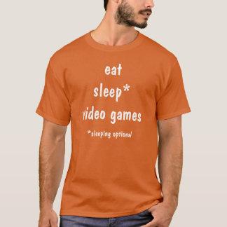 Camiseta Coma, video games do sono, sono opcional